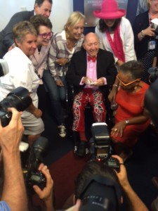(Bud Collins' last appearance at the U.S. Open. Sept. 6, 2015.)