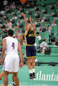 ATLANTA - JULY 20: Oscar Schmidt #14 of Brazil shoots a jump shot against Puerto Rico during the 1996 Summer Olympic Games on July 20, 1996 in Atlanta, Georgia. Brazil defeated Puerto Rico 101-98. (Photo by Doug Pensinger/Getty Images)